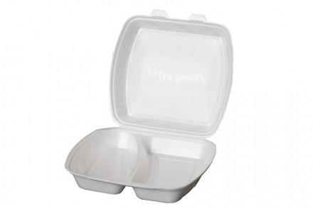 Ланч бокс из полистирола на два деления, контейнер пищевой, одноразовая посуда. Киев. фото 1