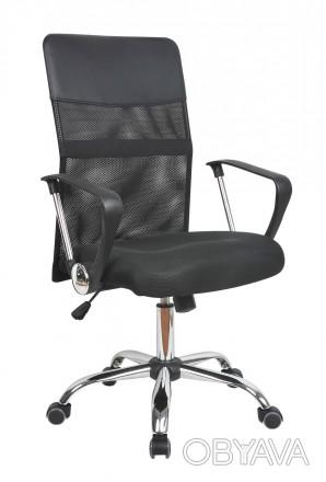 Кресло компьютерное с удобной спинкой среднего размера, черного цвета. Кресло с. Днепр, Днепропетровская область. фото 1