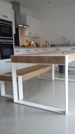 Стол стулья для кухни дома из металла нержавейки дерева стекла. Киев. фото 1