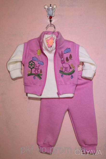 Трикотажный комплект состоит из джемпера, жилетки и штанишек. Удобный джемпер из. Малин, Житомирская область. фото 1