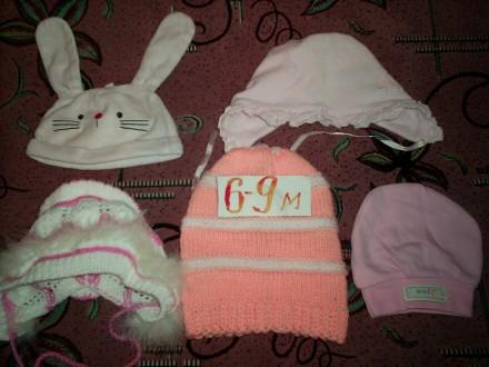 шапочки для девочки 6 мес. Сумы. фото 1