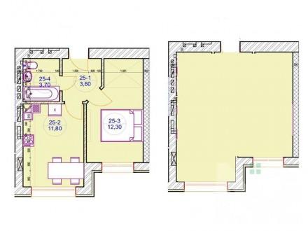 Общая площадь: 57,9 м2; Жилая площадь: 28 м2; Площадь кухни: 17,3м2; Этаж/этажно. Ирпень, Киевская область. фото 10