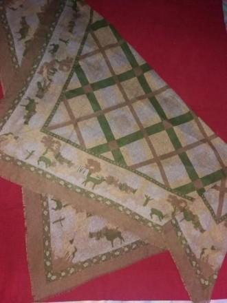 Платок винтажный с оленями (полушерсть).. Киев. фото 1