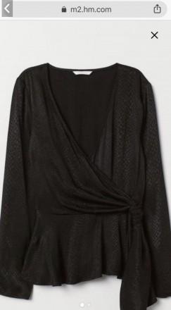 Чорна вечірня блузка на довгий рукав. V-подібний виріз, на запах та бічну зав'яз. Львов, Львовская область. фото 2