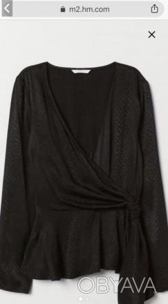 Чорна вечірня блузка на довгий рукав. V-подібний виріз, на запах та бічну зав'яз. Львов, Львовская область. фото 1