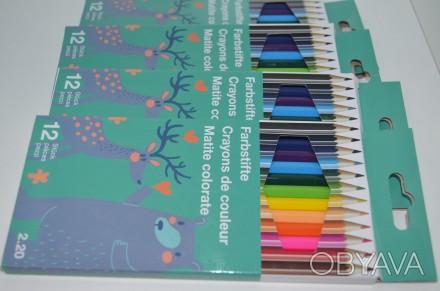 Цветные карандаши в картонной упаковке, 12 шт.,. Сумы, Сумская область. фото 1