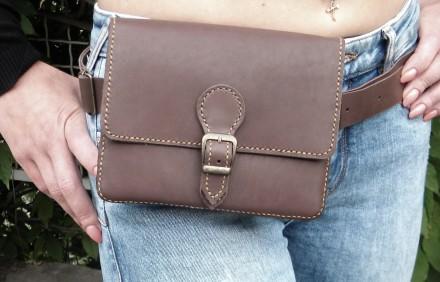 Поясная сумка ′ унисекс′ подойдет всем. Выполнена ручным швом из натуральной пло. Одесса, Одесская область. фото 5