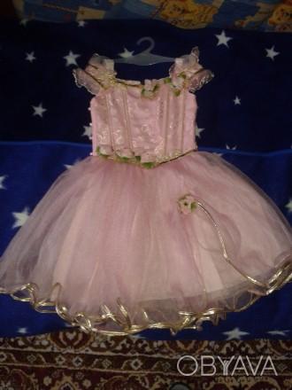 Нарядное детское платье розового цвета для выступлений на праздниках. Киев, Киевская область. фото 1