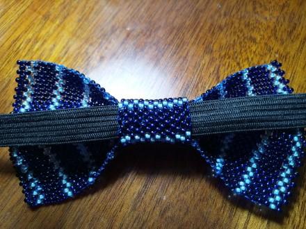 галстук-бабочка для мальчика 10х5 см из чешского бисера ручной работы, выглядит . Кривой Рог, Днепропетровская область. фото 3