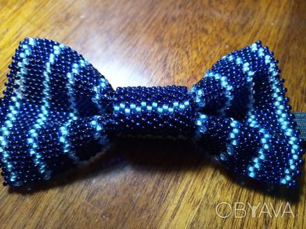 галстук-бабочка для мальчика 10х5 см из чешского бисера ручной работы, выглядит . Кривой Рог, Днепропетровская область. фото 1