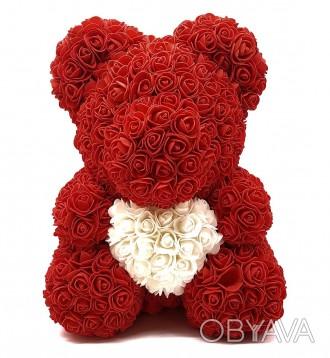 Мишка из роз Красный с сердцем 40 см