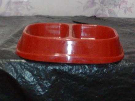 двойная миска для собак и кошек, пластик, 180мл 130мл. Харьков. фото 1
