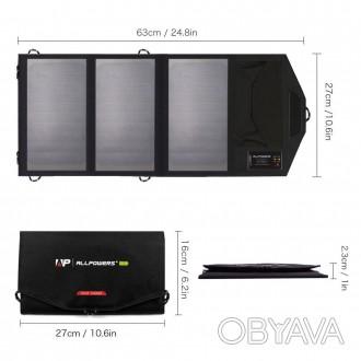 Туристическая портативная солнечная батарея ALLPOWERS 5V 15W 6000 mAa (переносна