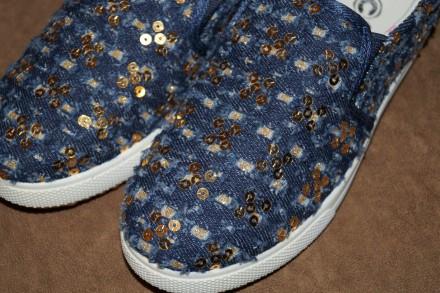 Стильные джинсовые слипоны с пайетками для девочки, помогут создать неповторимый. Кропивницкий, Кировоградская область. фото 6