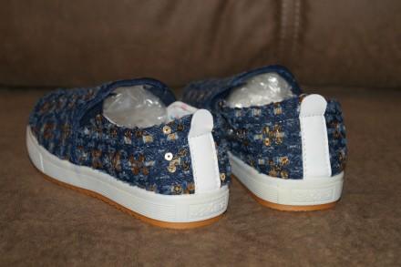 Стильные джинсовые слипоны с пайетками для девочки, помогут создать неповторимый. Кропивницкий, Кировоградская область. фото 7