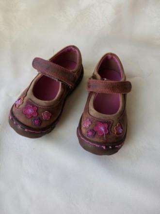 Коричневые шкіряні/кожаные туфлі/ туфли Clarks для дівчинки/ девочки. Житомир. фото 1