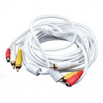 Продам Кабель для видеонаблюдения: 2 RCA + DC, 10м, белый цвет. Трускавец. фото 1