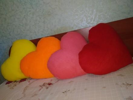 Декоративные подушки Сердце, разные расцветки, наполнитель холлофайбер специальн. Запорожье, Запорожская область. фото 3