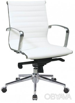 Офисное кресло, средняя спинка, сидение из прошитого кожзама, механизм мультибло. Киев, Киевская область. фото 1