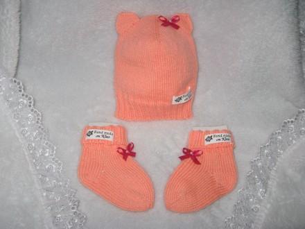 Шапочка и носочки вязаные спицами, весна - осень, от 0 до 10 месяцев. Младенцам . Знаменка, Кировоградская область. фото 2