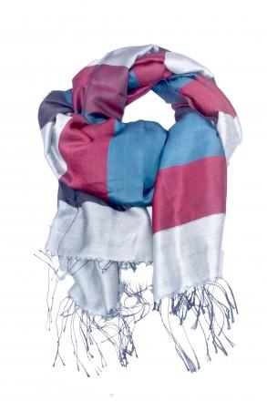 Женский палантин, пашмина, 100% шелк. Разноцветные полосы. Харьков. фото 1