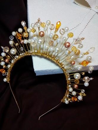 Диадема ручной работы,корона на ободке,в наличии и под заааз. Днепр. фото 1