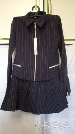 Пиджак и юбка школьная форма костюм двойка для девочки.  Цвет темно синий