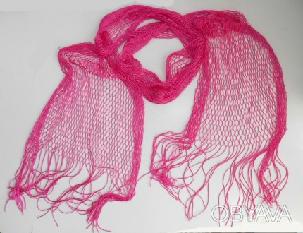 Легкий летний розовый шарф сетка