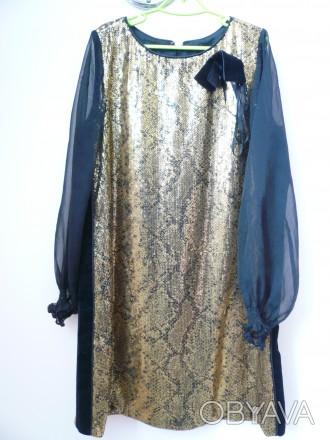 Платье черное с золотым б/у