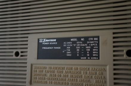 Emerson CTR-966 Deluxe Portable type AM/SW1/SW2/FM MPX Stereo Dual Cassette Rec. Черновцы, Черновицкая область. фото 10