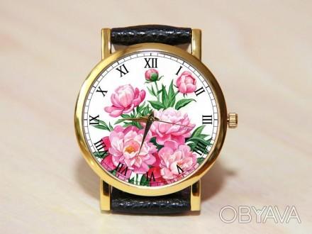 Часы пионы, женские часы, часы с цветами, розовые часы, кожаные часы
