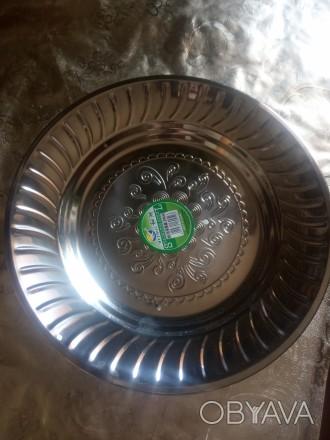 Тарелки металлические с узором новые. Металлическая посуда