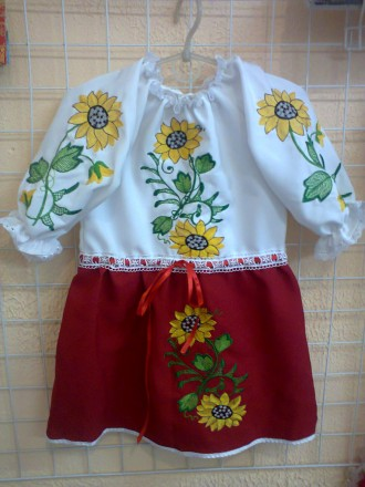 Платье вышиванка с подсолнухами на девочку 2-5 лет. Житомир. фото 1