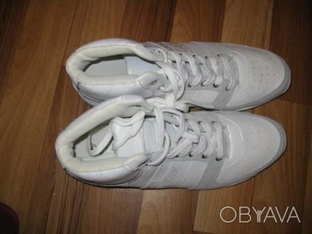 Кроссовки-кеды белые высокие кожа+замша размеры 41,42,43