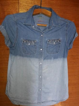 Джинсовая стильная рубаха на девочку-подростка. Стрый. фото 1