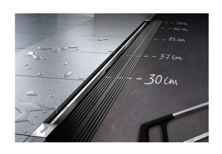 Дренажный канал плоский  VIEGA с дизайн вставкой хром Диаметр (мм) : 95 Длина/. Киев, Киевская область. фото 3