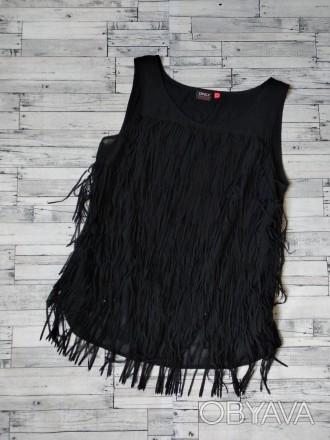 Блузка Only женская черная с бахромой