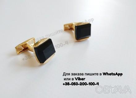 Золотистые запонки с агатом запонки с черным камнем запонки золотые