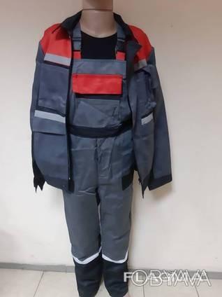 Костюм рабочий, полукомбинезон и куртка, для дорожников, азк