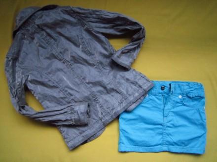 Фирменный стильный, очень красивый пиджак серого с отливом цвета ,р.128. В отлич. Пирятин, Полтавская область. фото 7