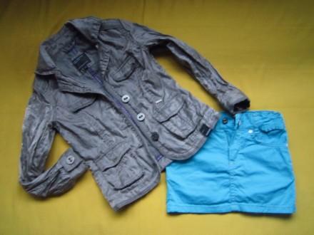 Фирменный стильный, очень красивый пиджак серого с отливом цвета ,р.128. В отлич. Пирятин, Полтавская область. фото 2