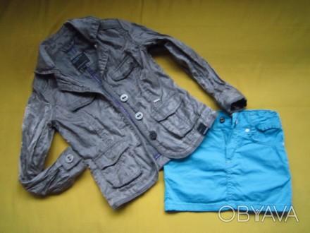 Фирменный стильный, очень красивый пиджак серого с отливом цвета ,р.128. В отлич. Пирятин, Полтавская область. фото 1