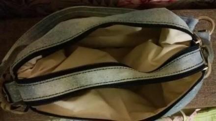 Сумка стильная, ткань потертый джинс, кожаная бахрома на ручках. 2а отделения, м. Днепр, Днепропетровская область. фото 4