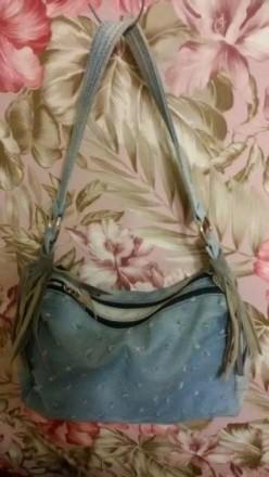 Сумка стильная, ткань потертый джинс, кожаная бахрома на ручках. 2а отделения, м. Днепр, Днепропетровская область. фото 2
