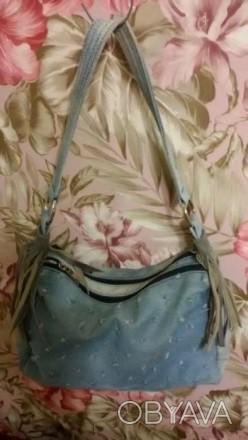 Сумка стильная, ткань потертый джинс, кожаная бахрома на ручках. 2а отделения, м. Днепр, Днепропетровская область. фото 1