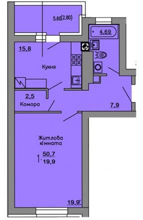 1-к квартиру 50,7 м2, в ЖК Львовский Маеток в заселенном доме. Киево-Святошинский. фото 1
