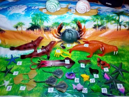 Набор морские животные фигурки игрушечных животных, акула дельфин черепаха. Ромны. фото 1