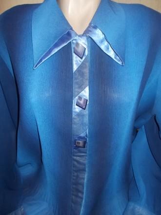 Продам синюю нарядную блузу очень большого размера р.XХХL, б/у в идеальном состо. Чернигов, Черниговская область. фото 6