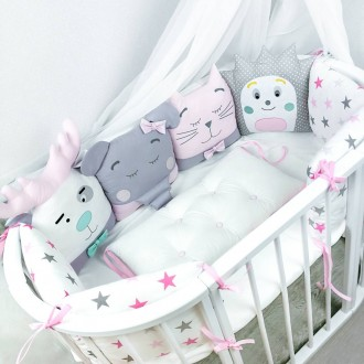 Бортики-персонажи зверюшки защита в детскую кроватку. Сумы. фото 1