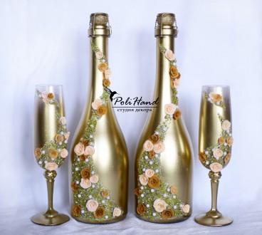 Свадебное шампанское с декором. Киев. фото 1